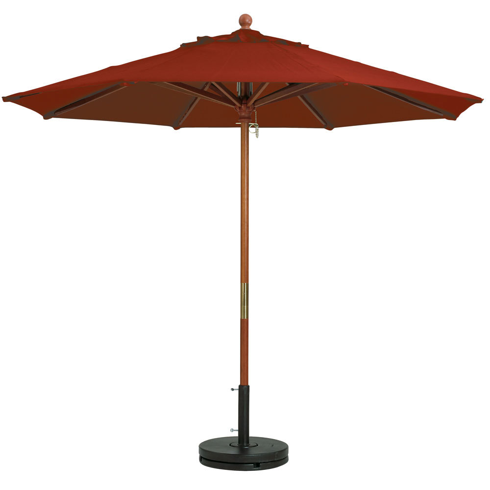 "Grosfillex 98918231 9' Terra Cotta Market Umbrella with 1 1/2"" Wooden Pole"