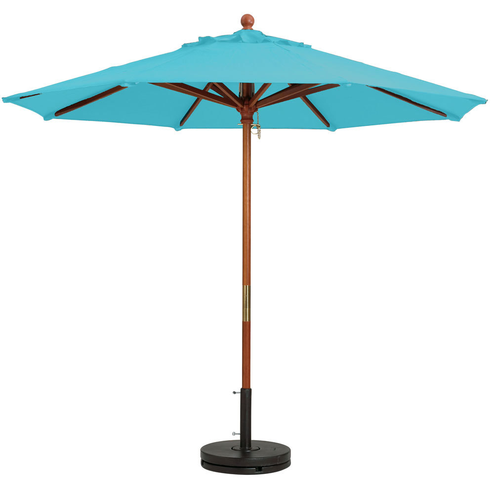 "Grosfillex 98913131 9' Turquoise Market Umbrella with 1 1/2"" Wooden Pole"