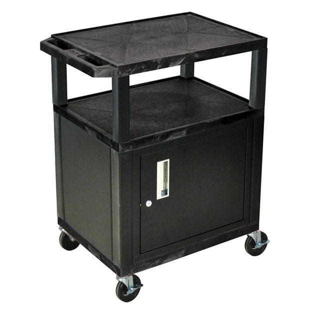 "Luxor / H. Wilson WT34C2E-B Black Tuffy Two Shelf A/V Cart with Locking Cabinet - 24"" x 18"" x 34"""