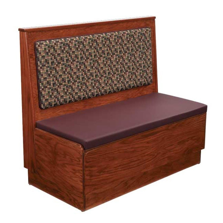 "American Tables & Seating AS48-W-PS-D Plain Back Platform Seat Single Deuce Wood Booth - 48"" High"