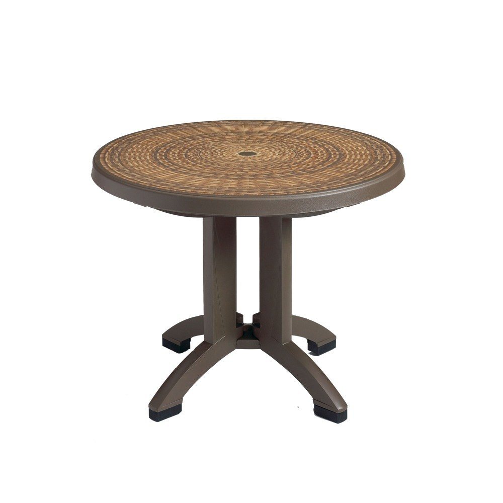 "Grosfillex US215037 Havana 38"" Espresso Wicker Finish Round Resin Folding Table with Umbrella Hole"