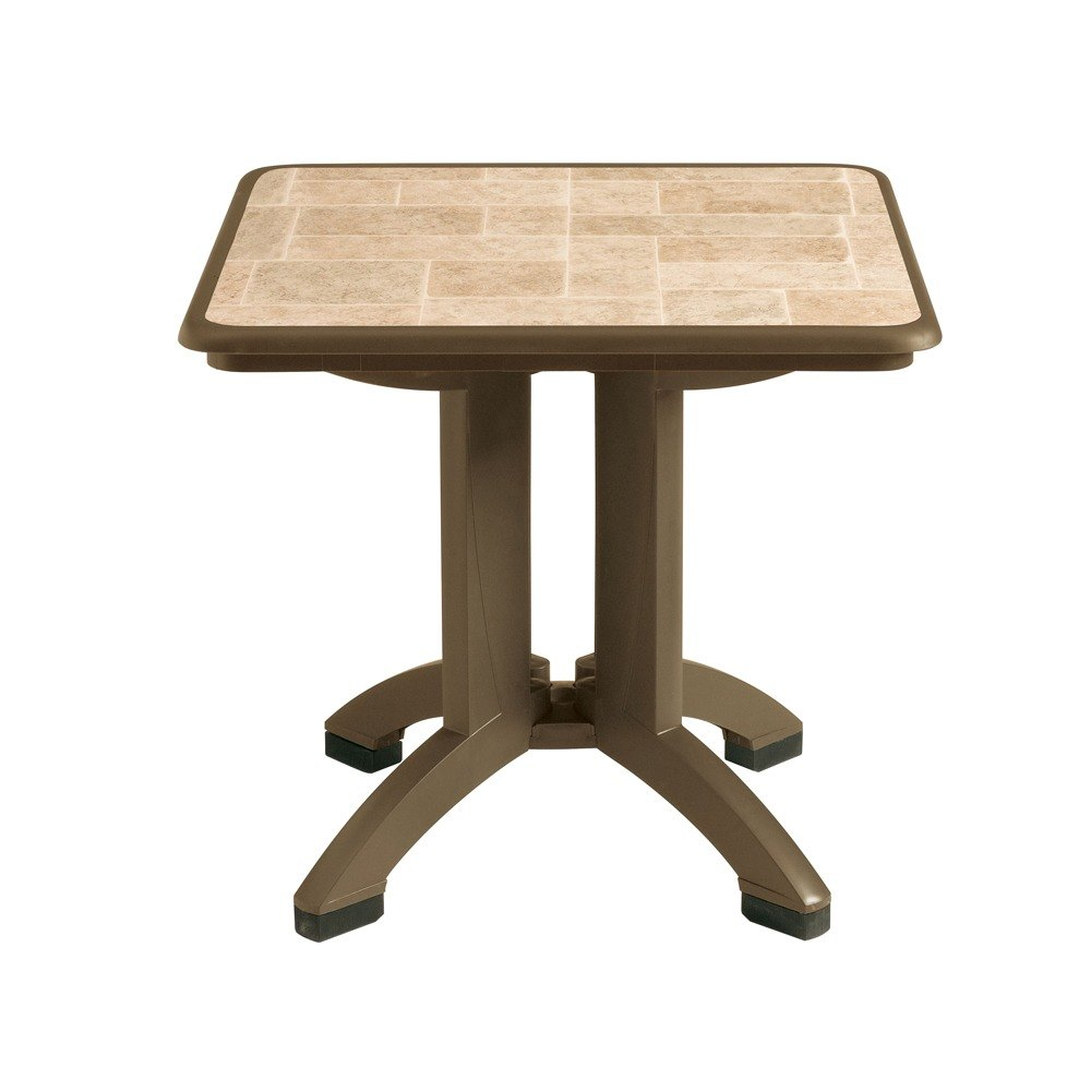 Square folding tables - Grosfillex Us701037 Siena 32 X 32 Square Resin Folding Table With Umbrella Hole Bronze Mist 2 Pack