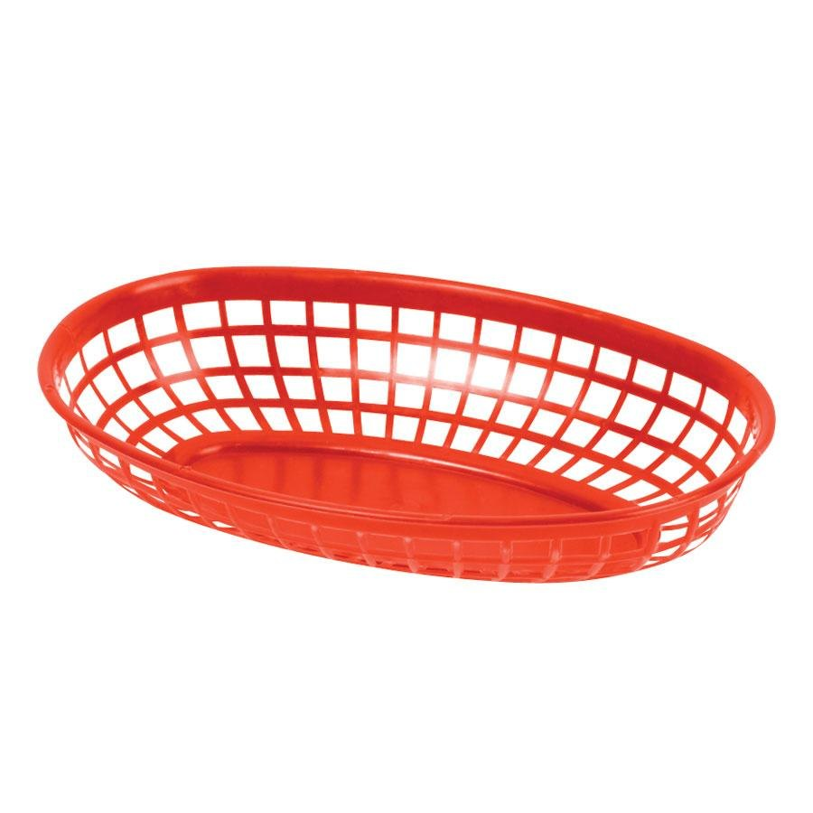 9 1/4 inch x 5 3/4 inch Plastic Oval Fast Food Basket - Red 12 / Pack