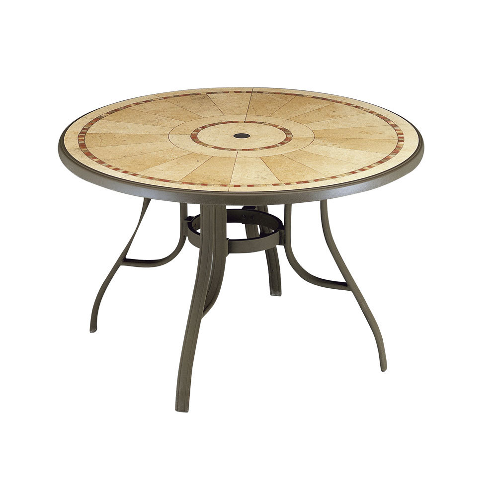 Grosfillex 52236137 louisiana 48 bronze mist round resin - Grande table ronde de jardin ...