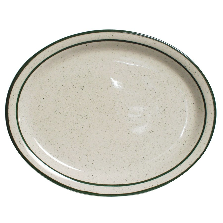 "Tuxton TES-012 Emerald 9 1/2"" x 7 1/2"" Green Speckle Narrow Rim Oval China Platter - 24/Case"