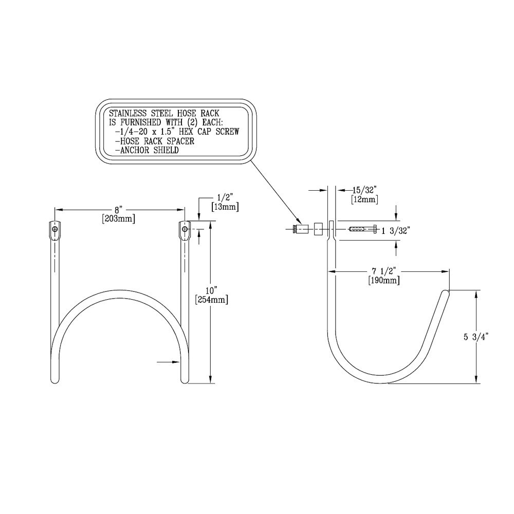 T&S 002970-45 Stainless Steel Hose Bracket Mounting Hardware