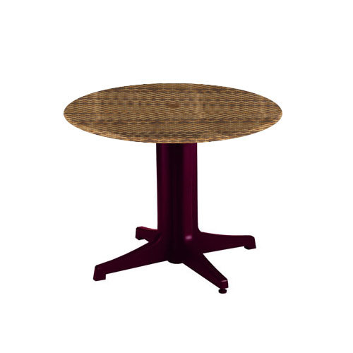 "Grosfillex 998311018 36"" Wicker Round Molded Melamine Outdoor Table Top with Umbrella Hole"