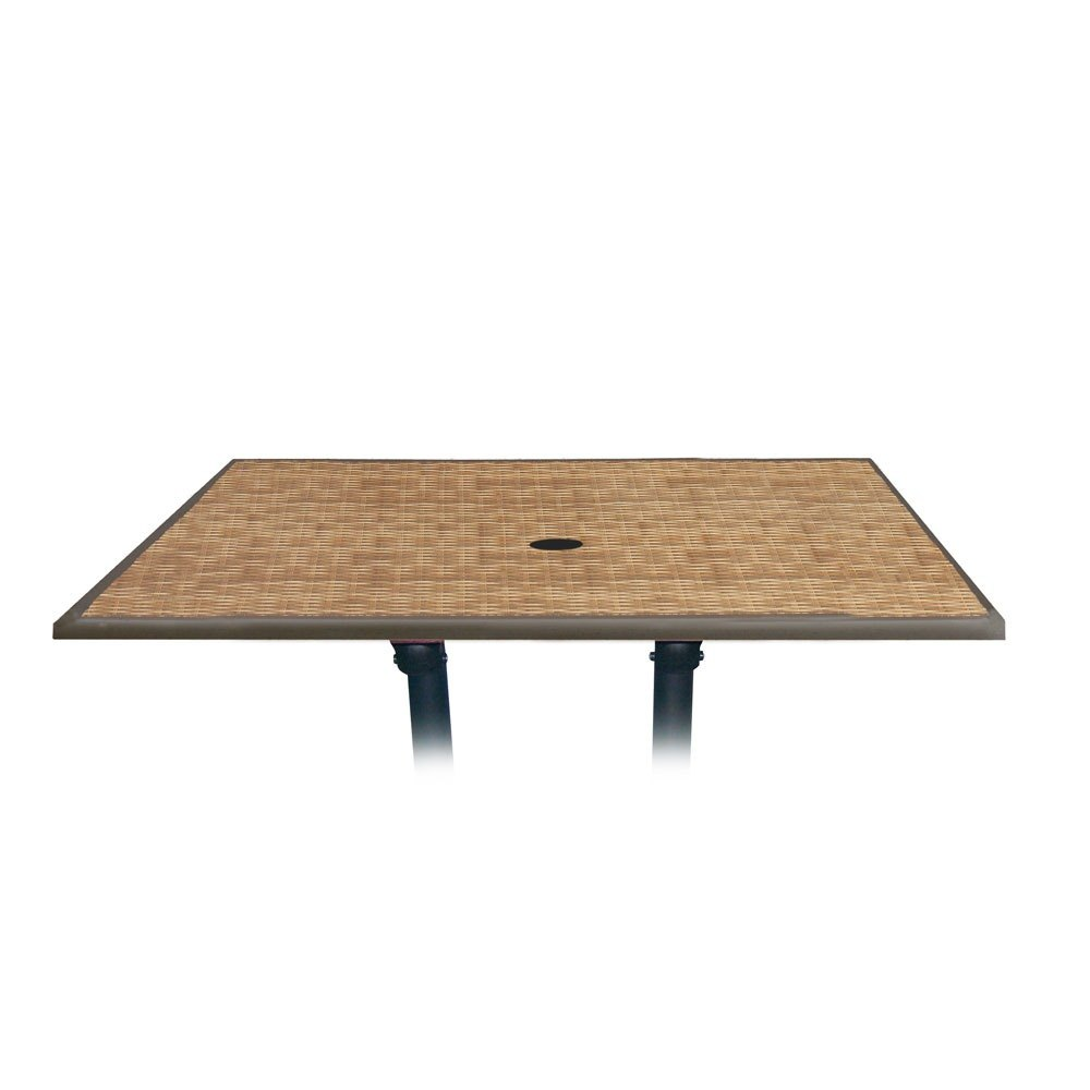"Grosfillex 99851318 48"" x 32"" Wicker Rectangular Molded Melamine Outdoor Table Top with Umbrella Hole"