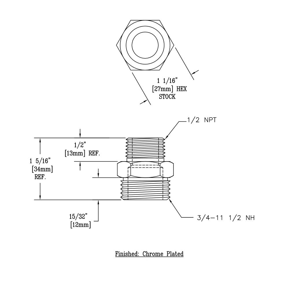005224-25 Adapter with 3/4-11 1/2 and 1/2 NPT Male Connections