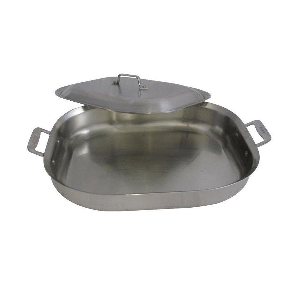 Bon Chef 60023CLDHF Cucina 7 qt. Hammered Finish Stainless Steel Oblong Pan with Lid
