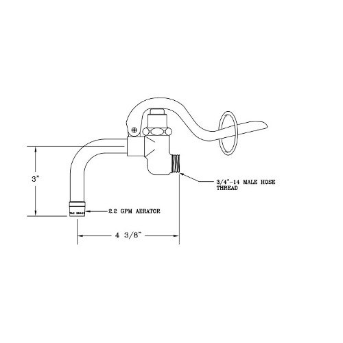 T&S 009937-40 Squeeze Valve with Bent Nozzle and Aerator for B-0102-C Spray Valve
