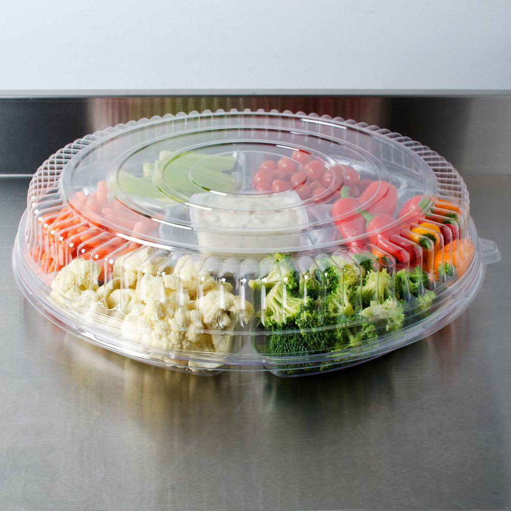 "Fineline Platter Pleasers 9801-LL Clear Low Dome Lid for 18"" Round Thermoform Tray - 25/Case"