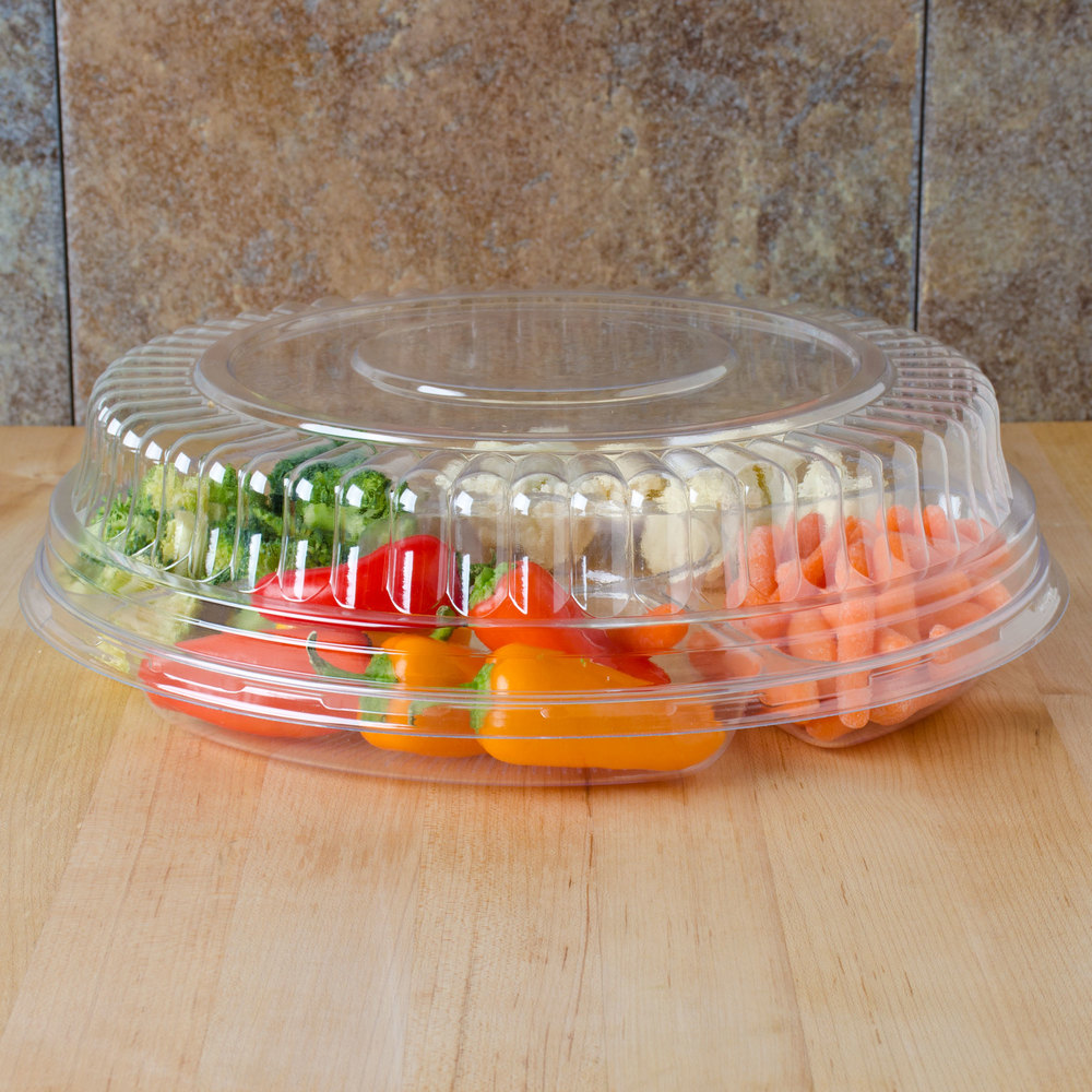 "Fineline Platter Pleasers 9201-LL Clear Low Dome Lid for 12"" Round Thermoform Tray - 25/Case"