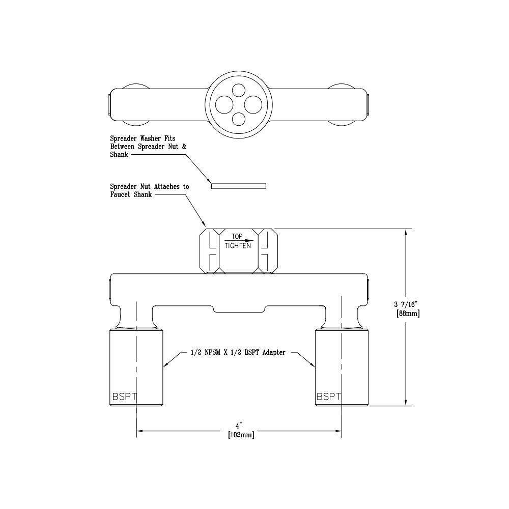 T&S 014420-40 Spreader Assembly with BSPT Adapters