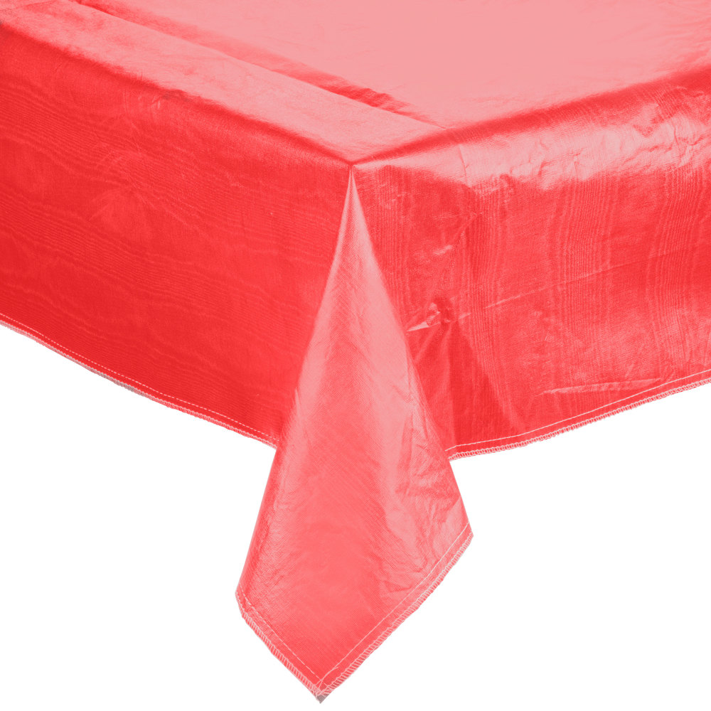 "72"" x 72"" Red Vinyl Table Cover with Flannel Back"