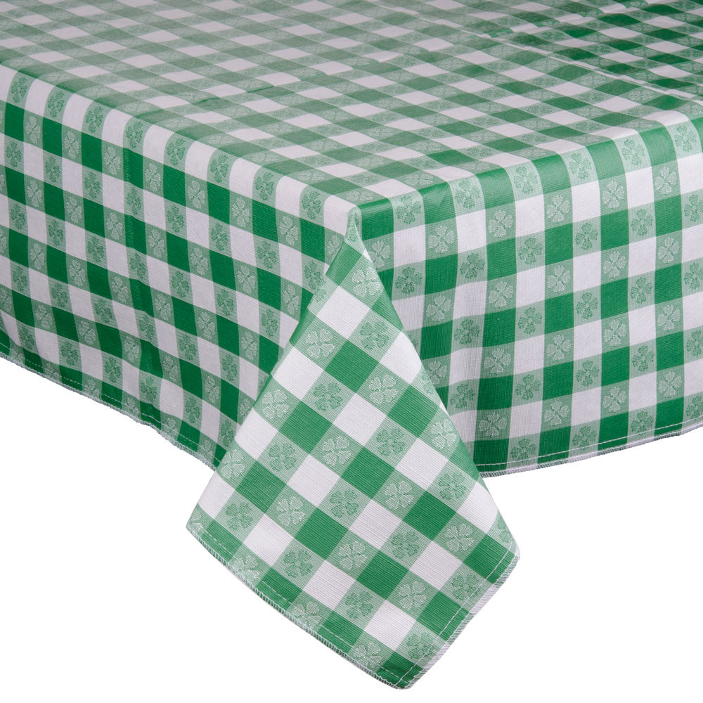 "72"" x 72"" Green-Checkered Vinyl Table Cover with Flannel Back"