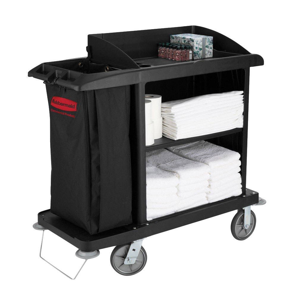 Rubbermaid Fg619000bla Compact Housekeeping Cart