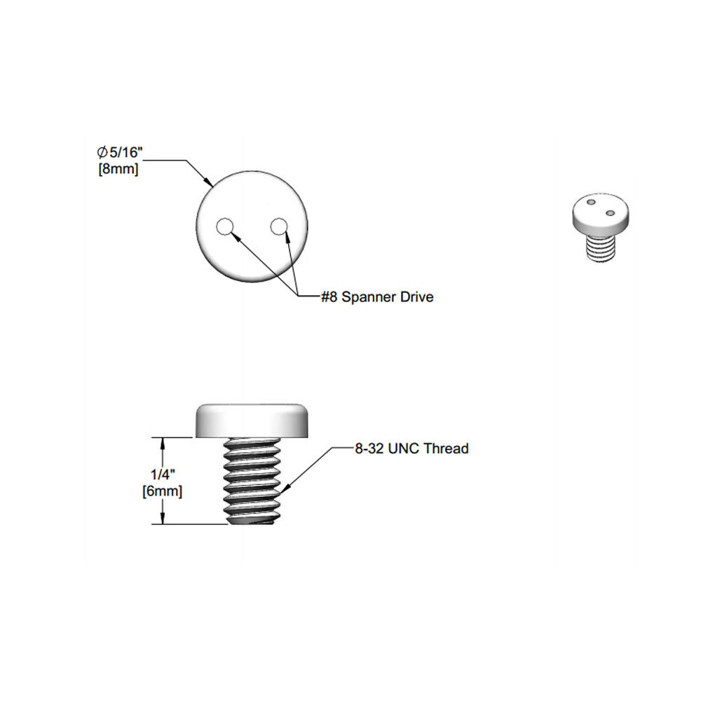 "T&S 016654-45 1/4"" Stainless Steel Vandal Resistant Screw with 8-32 UN Connections"