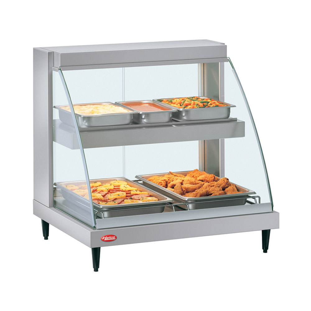 Hatco GRCD-3PD Glo-Ray Two Shelf Full Service Heated Display Case with Curved Glass - 45 1/2""
