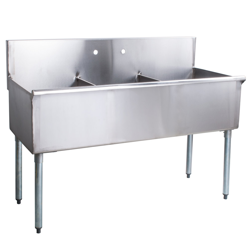 "Stainless Steel Kitchen Sinks With Drainboards Regency 48"" 16Gauge Stainless Steel Three Compartment Commercial"