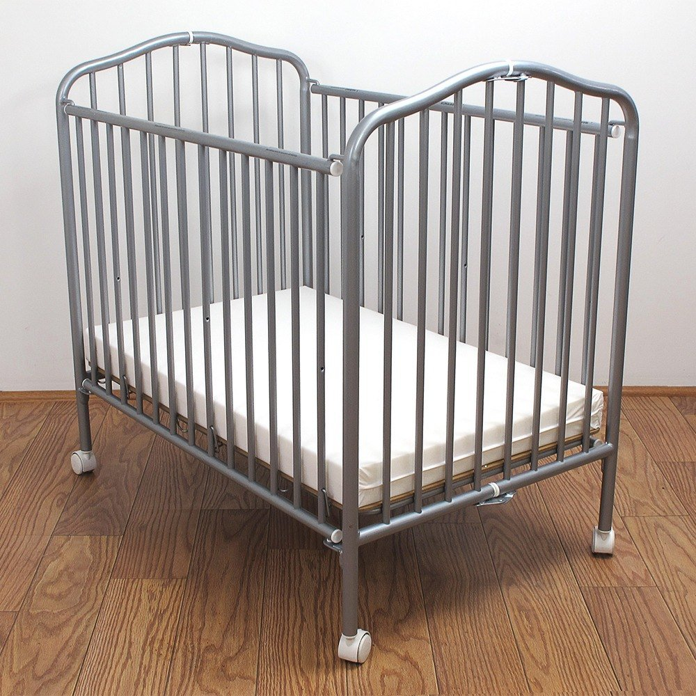 "L.A. Baby CS-81 24"" x 38"" Pewter Colored Metal Folding Crib with 2"" Flame Retardant Mattress"