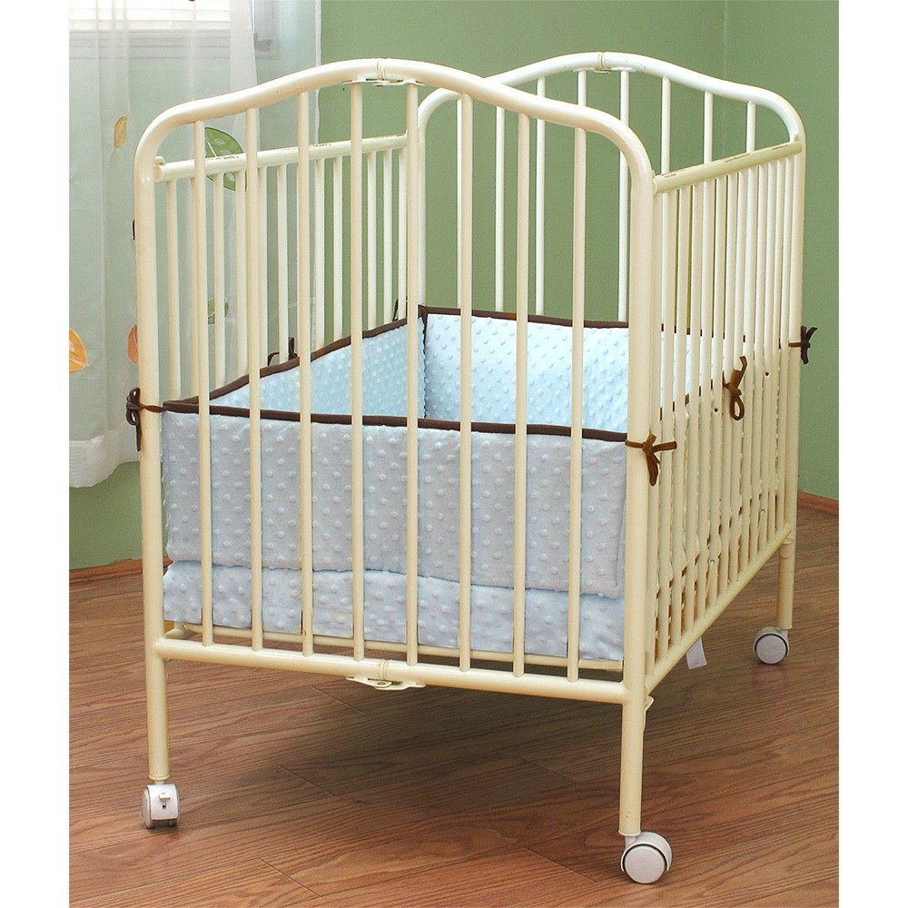 "L.A. Baby CS-81 24"" x 38"" Vanilla Colored Metal Folding Crib with 2"" Flame Retardant Mattress"