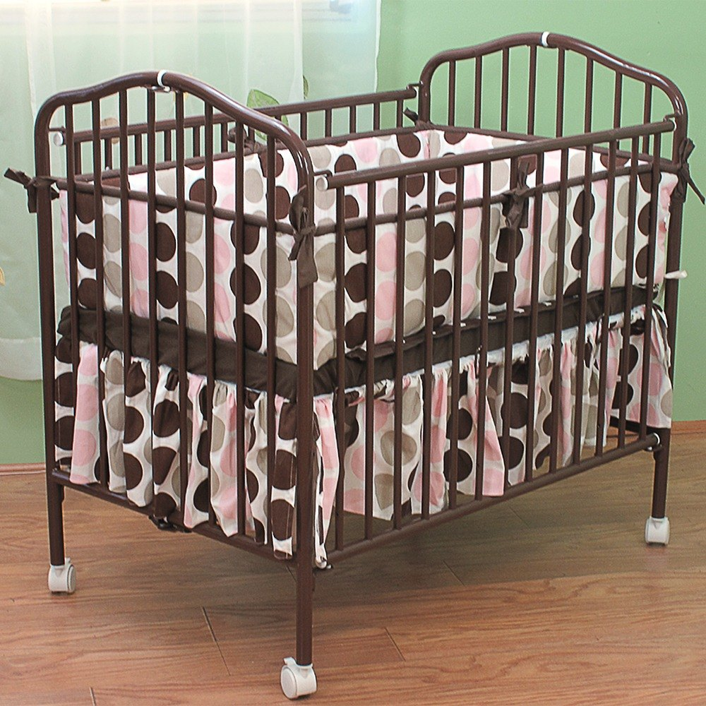 l a baby cs 81 24 quot x 38 quot chocolate colored metal folding crib with 2 quot retardant mattress