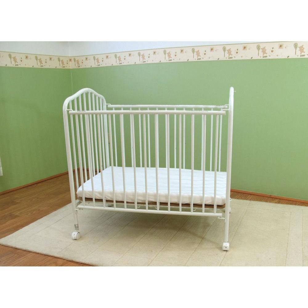 L.A. Baby CS-81 24 inch x 38 inch White Metal Folding Crib with 2 - Metal Crib - WebstaurantStore