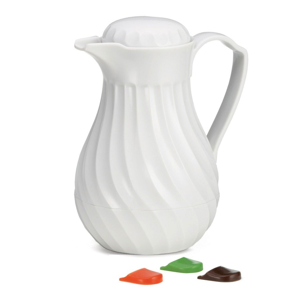 Tablecraft 447 White 64 oz. Plastic Swirl Thermal Beverage Server