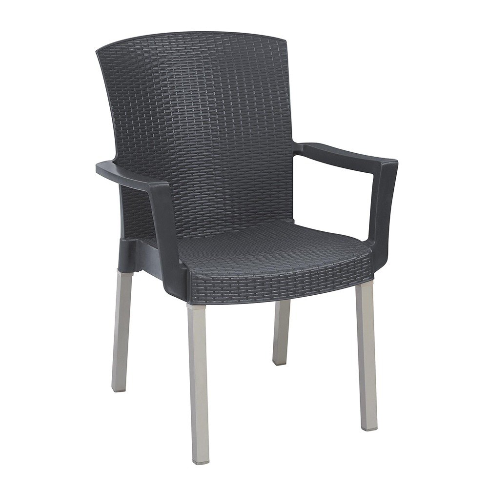 Grosfillex Havana Classic Stacking Resin Armchair - Charcoal