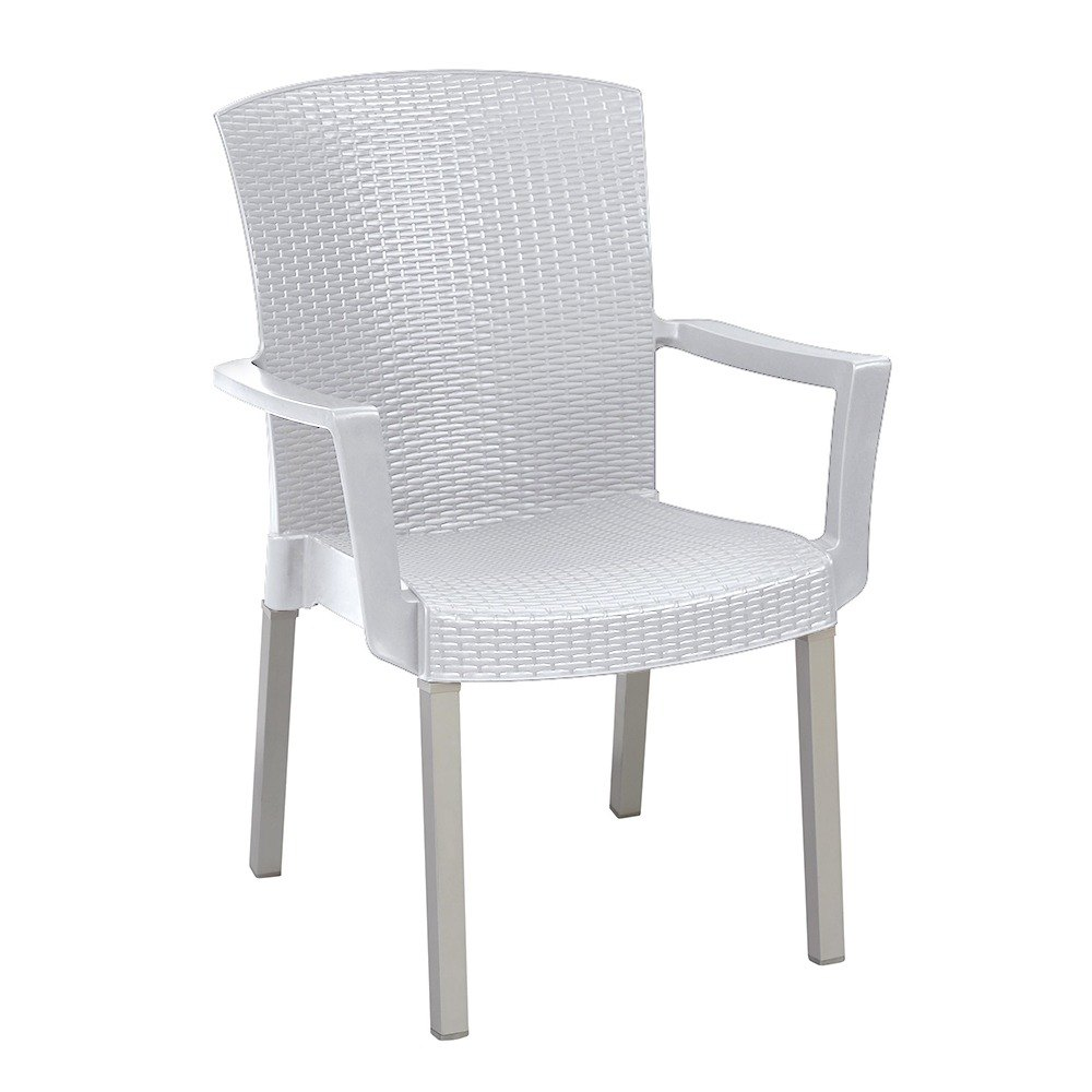 Grosfillex Havana Classic Stacking Resin Armchair - White
