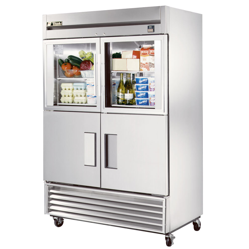 "True TS-49-2-G-2 54"" Stainless Steel Two Section Solid Half Door Reach In Refrigerator with Glass and Solid Doors - 49 Cu. Ft."