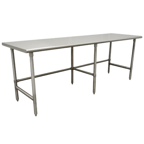 "Advance Tabco TMS-3610 36"" x 120"" 16 Gauge Open Base Stainless Steel Commercial Work Table with Stainless Steel Legs"