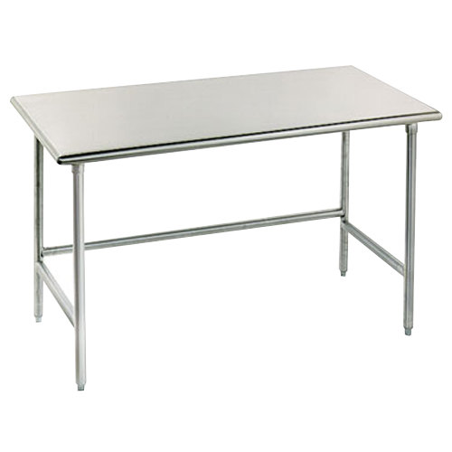"Advance Tabco TMG-247 24"" x 84"" 16 Gauge Open Base Stainless Steel Commercial Work Table with Galvanized Steel Legs"