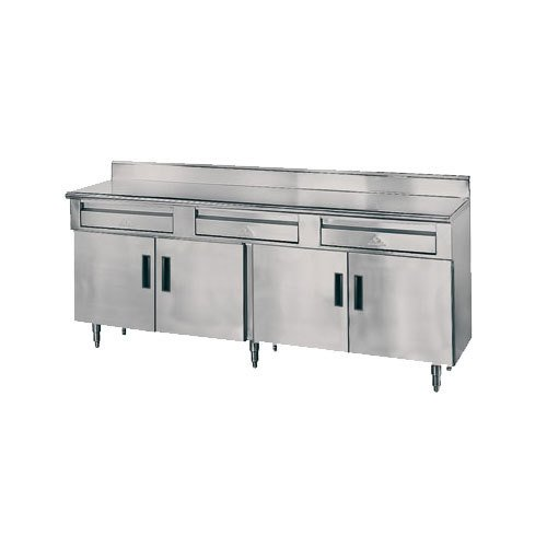 "Advance Tabco HDRC-3010 30"" x 120"" 14 Gauge Enclosed Base Stainless Steel Work Table with 4 Drawers, 4 Hinged Doors and 5"" Backsplash"