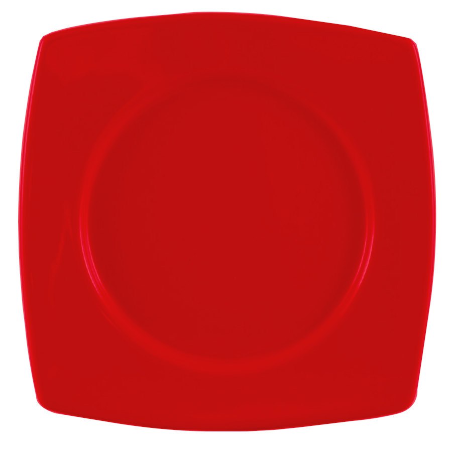 "CAC R-SQ8R Clinton Color Round in Square Plate 8 7/8"" - Red 24/Case"