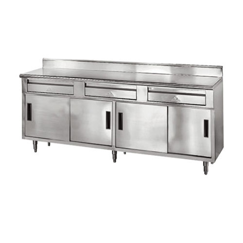 "Advance Tabco SDRC-306 30"" x 72"" 14 Gauge Enclosed Base Stainless Steel Work Table with 2 Drawers, 4 Sliding Doors and 5"" Backsplash"