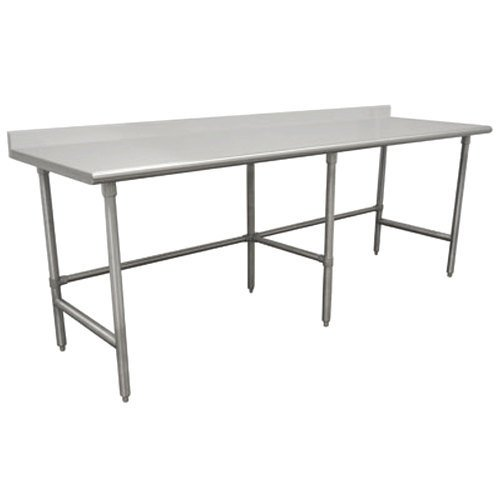 "16 Gauge Advance Tabco TKMS-2411 24"" x 132"" Open Base Stainless Steel Commercial Work Table with 5"" Backsplash"