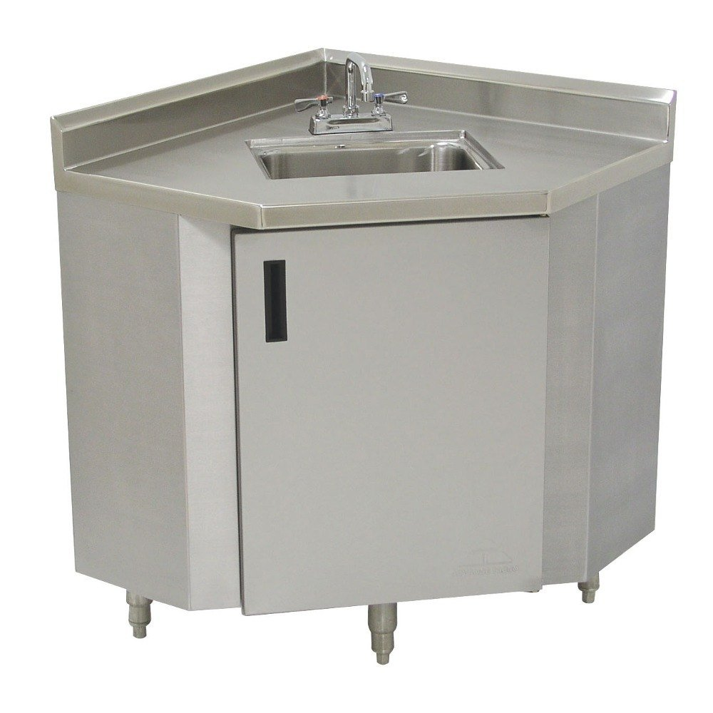 Advance tabco shk 2441 stainless steel corner sink cabinet for Sink furniture cabinet