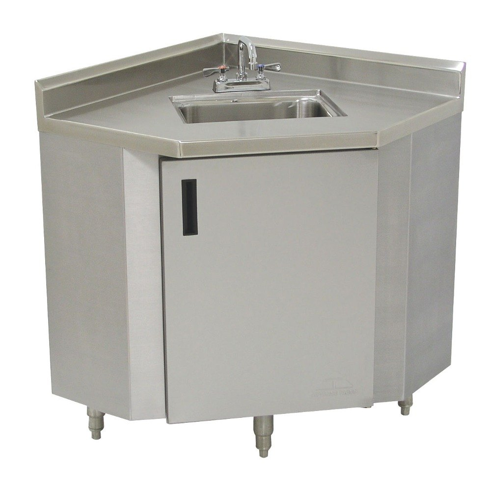 Stainless Steel Sink With Counter : Advance Tabco SHK-2441 Stainless Steel Corner Sink Cabinet - 24