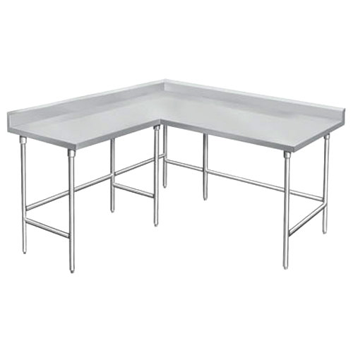 "Advance Tabco KTMS-245 24"" x 60"" 14 Gauge L-Shaped Corner SS Commercial Work Table"