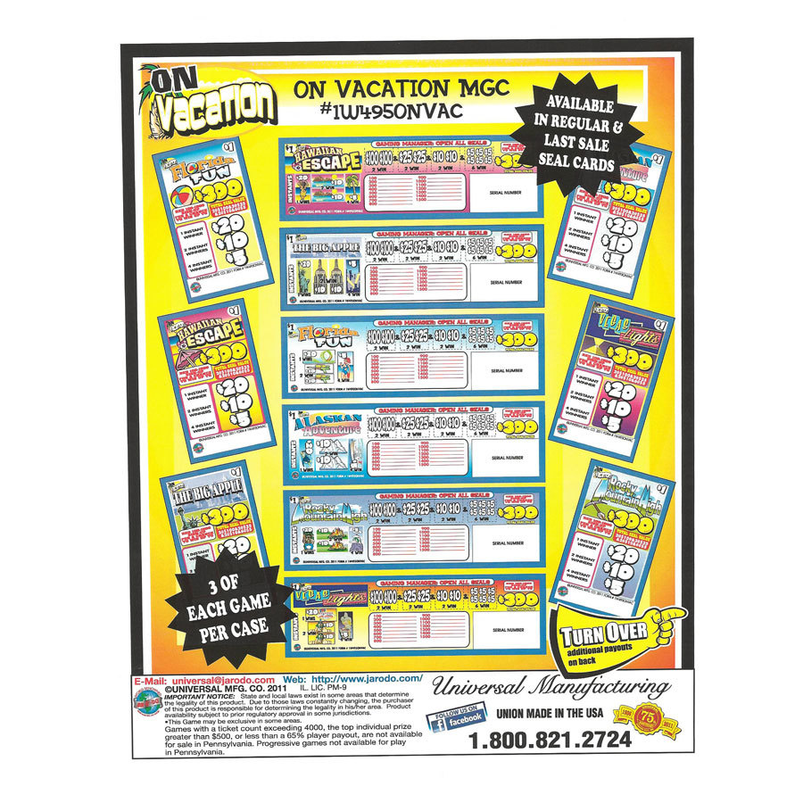 """""""On Vacation"""" 1 Window Pull Tab Tickets - 495 Tickets Per Deal - Total Payout: $360 at Sears.com"""