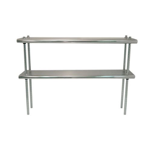 "Advance Tabco DS-12-36R 12"" x 36"" Table Rear Mounted Double Deck Stainless Steel Shelving Unit - Adjustable with 1"" Rear Turn-Up"