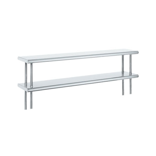 "Advance Tabco ODS-12-48R 12"" x 48"" Table Rear Mounted Double Deck Stainless Steel Shelving Unit with 1"" Rear Turn-Up"