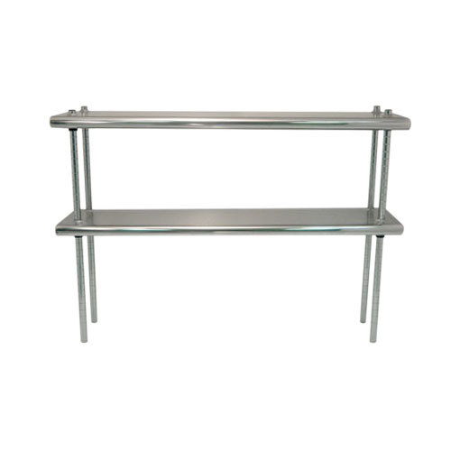 "Advance Tabco DS-12-60R 12"" x 60"" Table Rear Mounted Double Deck Stainless Steel Shelving Unit - Adjustable with 1"" Rear Turn-Up"