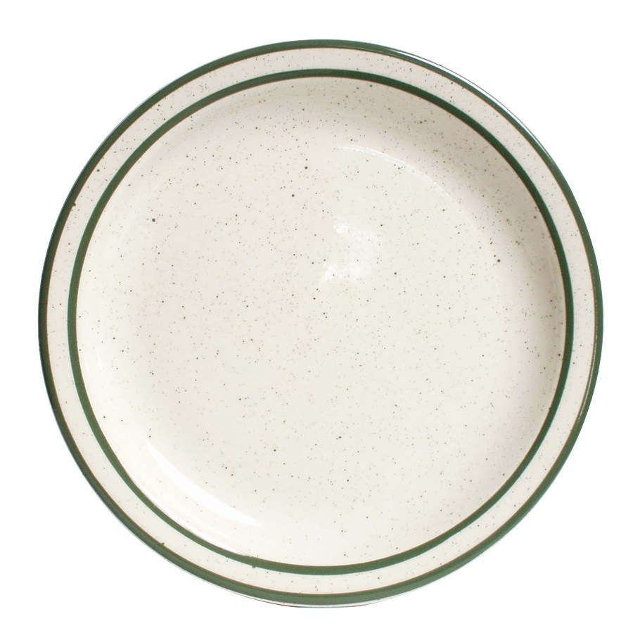 "Tuxton TES-006 6 1/2"" Narrow Rim Green Speckle Emerald China Plate 36/Case"