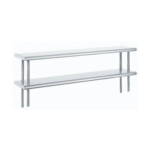 "Advance Tabco ODS-10-108R 10"" x 108"" Table Rear Mounted Double Deck Stainless Steel Shelving Unit with 1"" Rear Turn-Up at Sears.com"