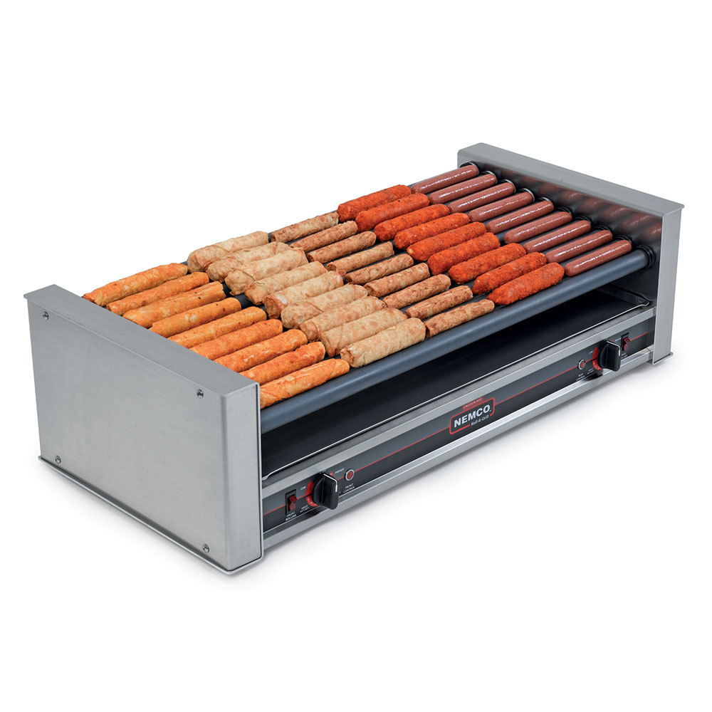 Nemco 220 Volts Nemco 8027SX-SLT Slanted Hot Dog Roller Grill with GripsIt Non-Stick Coating - 27 Hot Dog Capacity at Sears.com