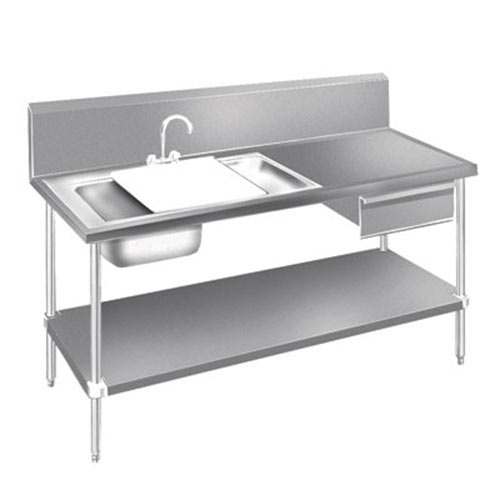 Advance Tabco DL-30-72 Stainless Steel Prep Table with Sinks, Drawer, Cutting Board and Undershelf - 72""