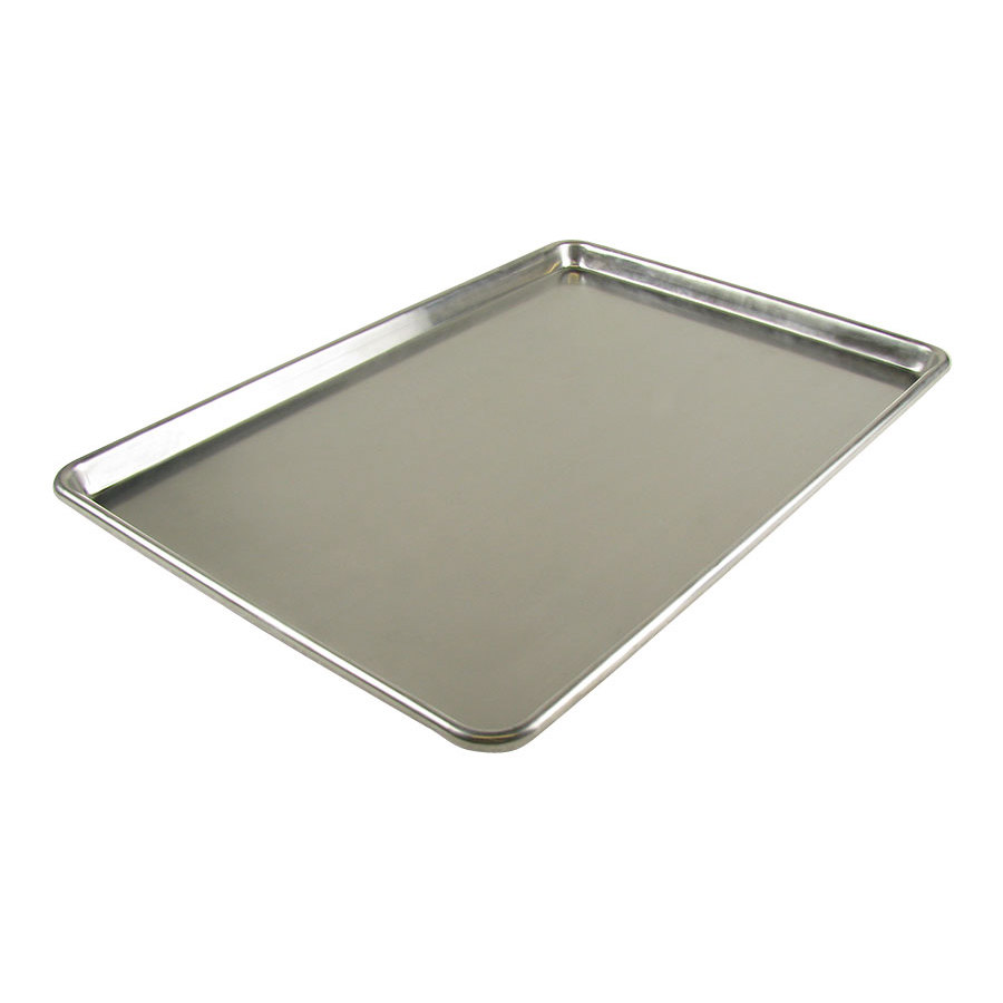 18 inch x 26 inch 12 Gauge Heavy Duty Full Size Aluminum Bun / Sheet Pan - Open Bead NSF